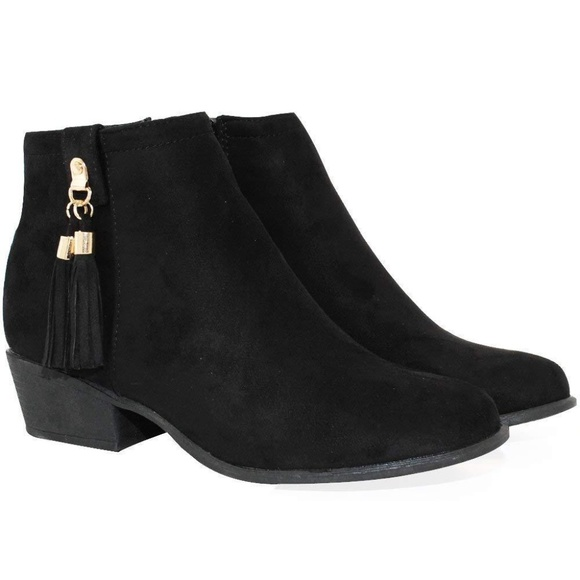 Trendsup Collection Shoes - Manny-47 Womens Inside Zipper Stacked Heel Booties